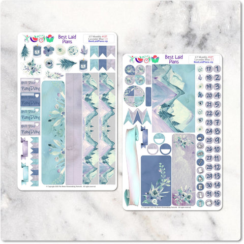Leafy Treetops Monthly Headers Lavender Blue