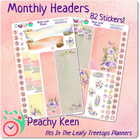 Image of Leafy Treetops Monthly Headers Peachy Keen