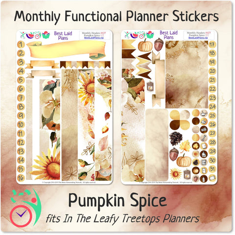 Leafy Treetops Monthly Headers Pumpkin Spice