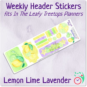 Leafy Treetops Weekly Header Boxes Lemon Lime Lavender