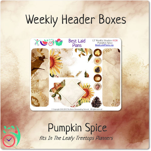 Leafy Treetops Weekly Header Boxes Pumpkin Spice