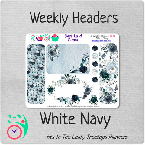 Image of Leafy Treetops Weekly Header Boxes White Navy