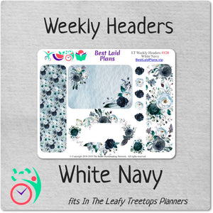 Leafy Treetops Weekly Header Boxes White Navy