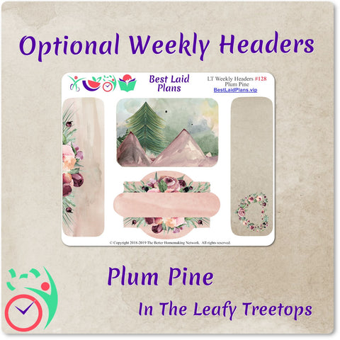 Image of Leafy Treetops Wide Horizontal Weekly Kit Plum Pine Floral