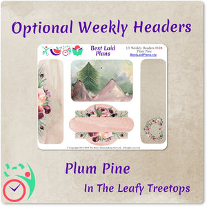 Leafy Treetops Wide Horizontal Weekly Kit Plum Pine Floral