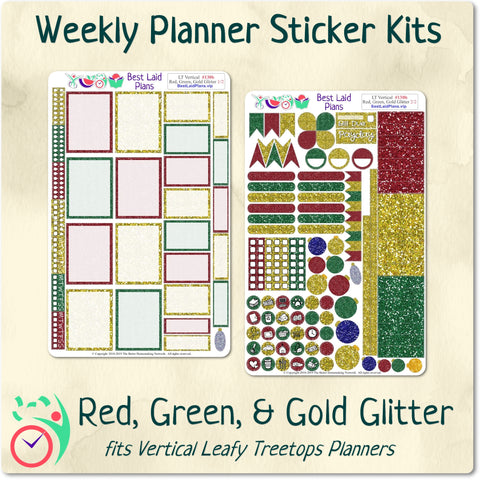 Image of Leafy Treetops Vertical Weekly Kit Red Green and Gold Glitter