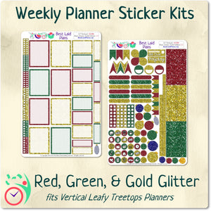 Leafy Treetops Vertical Weekly Kit Red Green and Gold Glitter