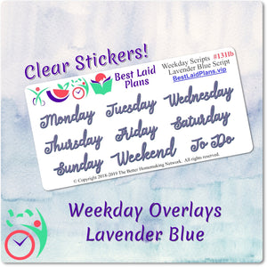 Weekday Scripts Lavender Blue