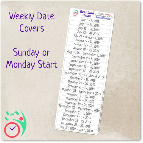 Weekly Date Covers 2021