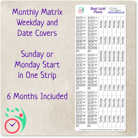 Monthly Matrix Weekday and Date Covers