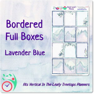 Leafy Treetops Vertical Full Border Boxes Lavender Blue