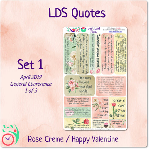 LDS Quotes 1 Rose Creme / Happy Valentine