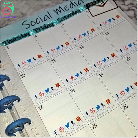 Image of Social Media Horizontal Checklist Planner Stickers