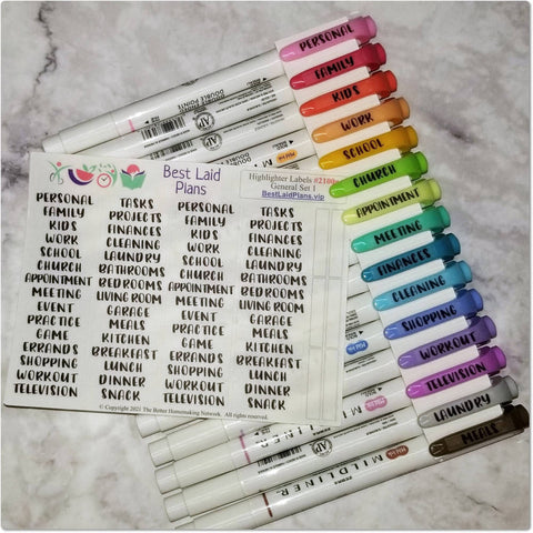 Image of Highlighter Labels Block Schedule Pen Color Categories Clear Functional Planner Stickers