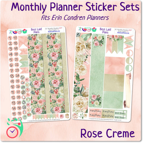 Image of Erin Condren Monthly Headers Rose Creme