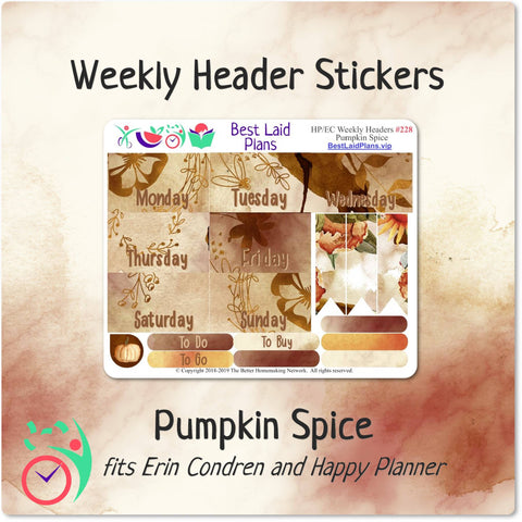 Image of Erin Condren and Happy Planner Weekly Header Boxes Pumpkin Spice
