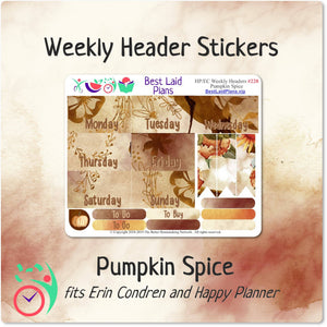 Erin Condren and Happy Planner Weekly Header Boxes Pumpkin Spice