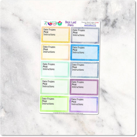 Freezer Meal Labels on Waterproof Vinyl - Watercolor Pastel - Customization Available