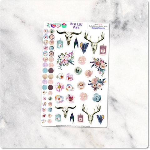 Decorative Planner Stickers Boho Peony Dusty Rose