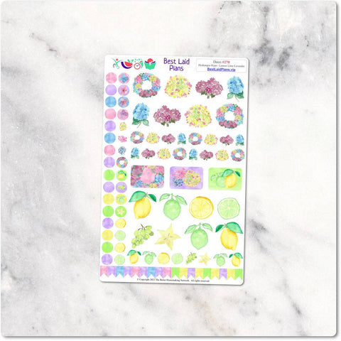 Image of Functional Sticker Kit Watercolor Floral Pastel Hydrangea Hype Lemon Lime Lavender