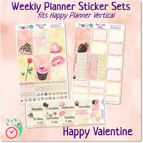 Image of Classic Happy Planner Vertical Weekly Kit Happy Valentine