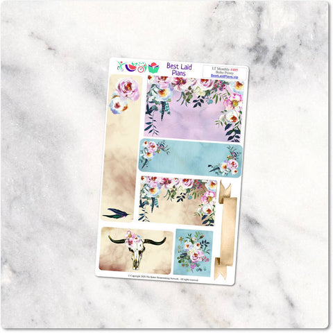 Image of Planner Stickers Leafy Treetops Functional Monthly Headers Boho Peony Dusty Rose