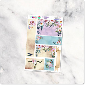 Planner Stickers Leafy Treetops Functional Monthly Headers Boho Peony Dusty Rose