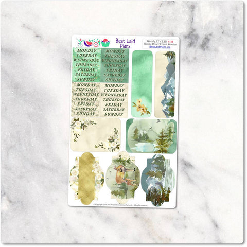 Image of Headers Trackers and Checklists Kit Leafy Treetops Vertical Horizontal Vanilla Rose Forest Wonder