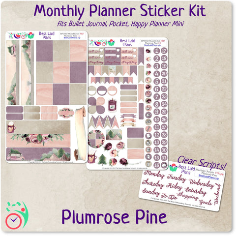 Happy Planner Mini Monthly Kit Plumrose Pine