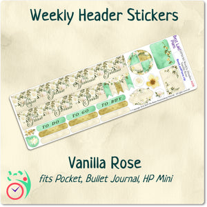 Happy Planner Mini Weekly Headers Vanilla Rose
