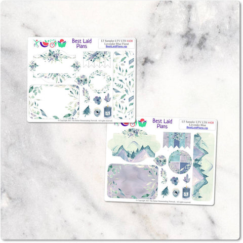 Image of Planner Stickers Leafy Treetops Weekly Sampler Lavender Blue