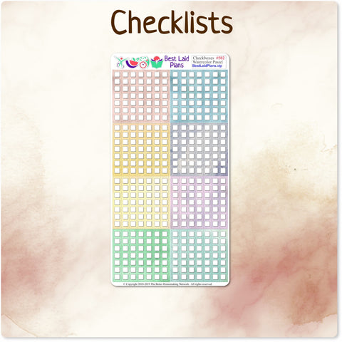 Watercolor Pastel Checklists