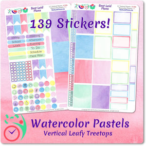 Leafy Treetops Vertical Weekly Kit Watercolor Pastels