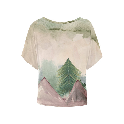 Image of Plumrose Pine Mountains Batwing Sleeve T-Shirt