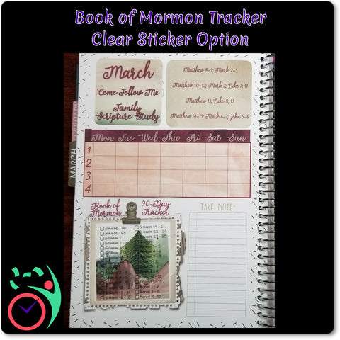 Book of Mormon 90 Day Tracker Daily Reading Chart Stickers with Two Numbering Systems