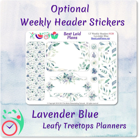 Image of Leafy Treetops Vertical Weekly Kit Lavender Blue Floral