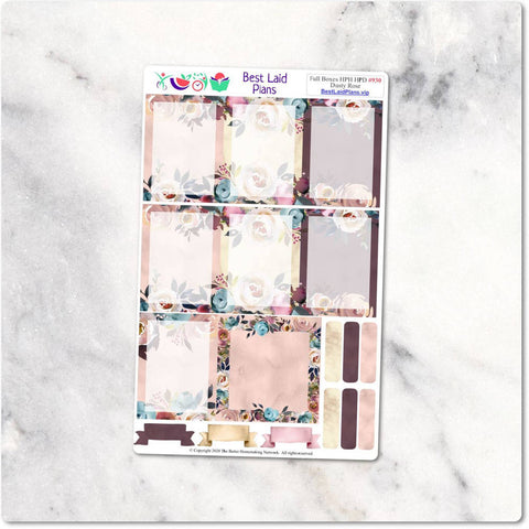 Image of Happy Planner Stickers Full Boxes Bohemian Boho Peony Dusty Rose