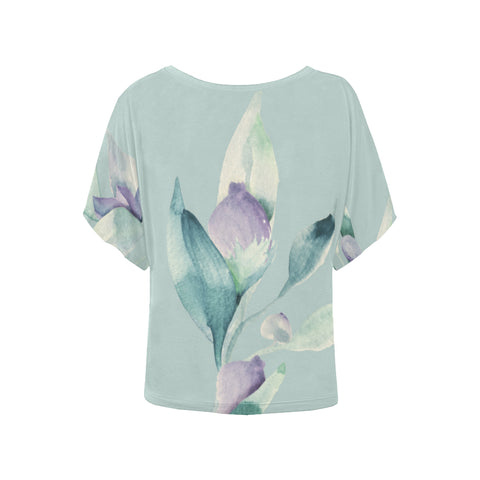 Image of Lavender Blue Flower Bud Batwing Sleeve T-Shirt