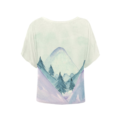 Lavender Blue Mountains Batwing Sleeve T-Shirt