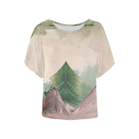 Plumrose Pine Mountains Batwing Sleeve T-Shirt