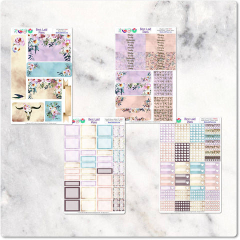 Image of Planner Stickers Leafy Treetops Functional Bohemian Boho Peony Dusty Rose