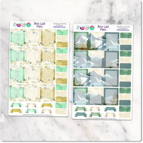 Image of Planner Stickers Boxes Floral Green TN