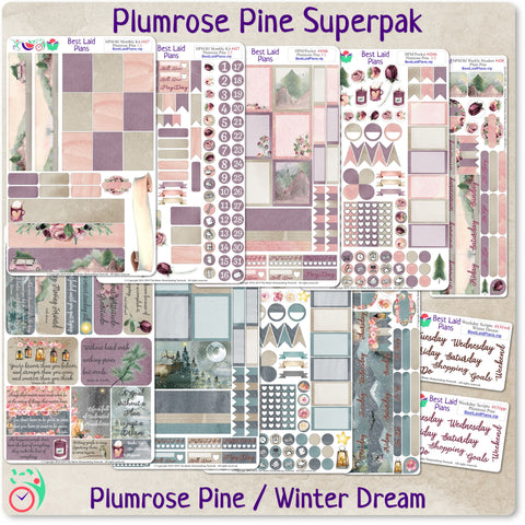 Image of Plans That Stick - Functional Planner Sticker Superpak - Plumrose Pine / Winter Dream