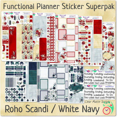 Functional Planner Sticker Superpak - Roho Scandi / White Navy