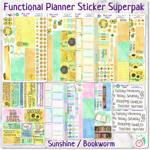 Functional Planner Sticker Superpak - Sunshine / Bookworm