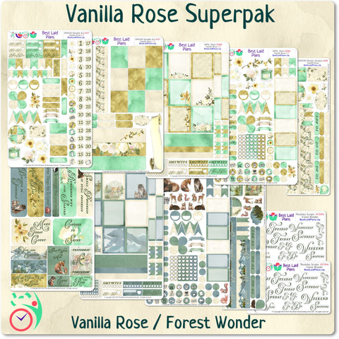 Plans That Stick - Functional Planner Sticker Superpak - Vanilla Rose / Forest Wonder