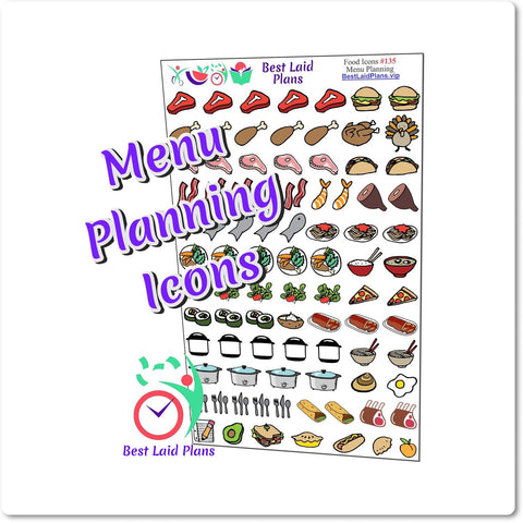 Image of Food Menu Planning Doodle Icon Stickers