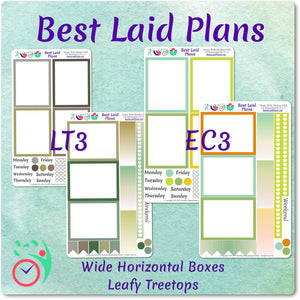 Planner Stickers Wide Horizontal Border Boxes March Colors Leafy Treetops Weekly Kit