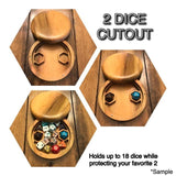2 Dice Cutout design option for polyhedral dice box for use with Dungeons and Dragons, Pathfinder, and other tabletop RPG
