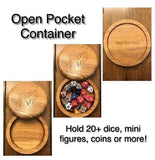 Open Dice Cutout design option for polyhedral dice box for use with Dungeons and Dragons, Pathfinder, and other tabletop RPGs
